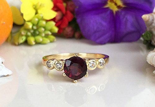 Mozambique Garnet Ring - Genuine Gemstone - January Birthstone - Stack Ring - Gold Ring - Red Garnet - Tiny Simple Jewelry ()
