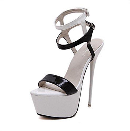 Paseo Fiesta Dedo Delgado Zapatos Tobillo Plataforma Mujer 3 Impermeable pie Sandalias Mirar Noche Hebilla Correa del Señoras furtivamente Negro Tacón Estilete Alto twwRUZq