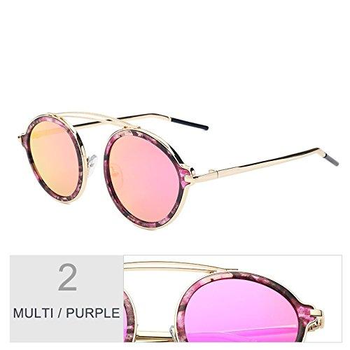 Gafas La Gafas Leopard Purple Moda Espejo Brown Multi TIANLIANG04 Placa La De La Hermoso La Parte De Mujer De De Gafas Ronda Para Sol Color De Trasera xtxwgnqRFP