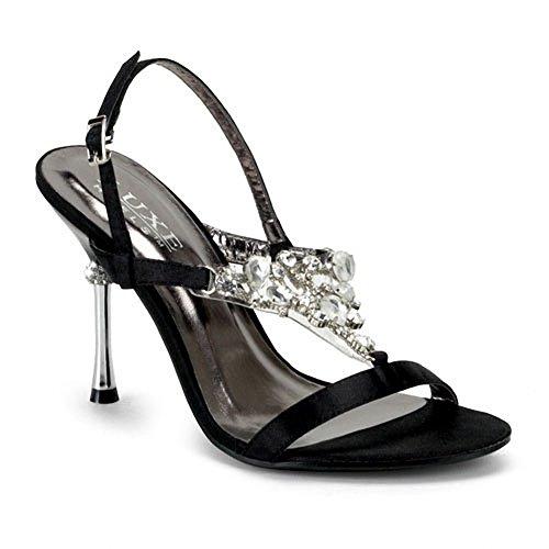 Pleaser Women's Jewel-16 Sling Back Sandal,Black Satin,8 M -