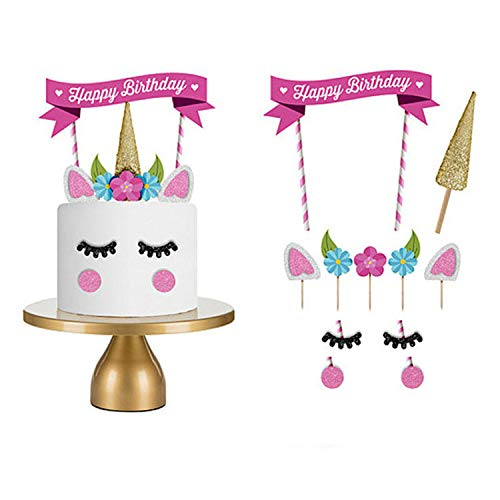 Unicornio para decoración de tartas – Unicornio cumpleaños suministros – Color rosa decoración para tartas para niñas súper lindas (11 piezas)