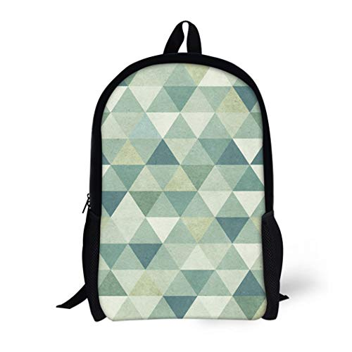 Pinbeam Backpack Travel Daypack Green Vintage Geometric Pattern on Blue Geometry Wool Waterproof School Bag