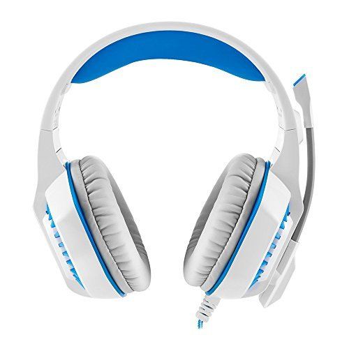 BIGAINT GM-2 Gaming Headset Multi-functional Stereo Headphone with Microphone,Bass Surround and Soft Memory Earmuffs for PS4, PC, Xbox One and Mobile Phone(White Blue)