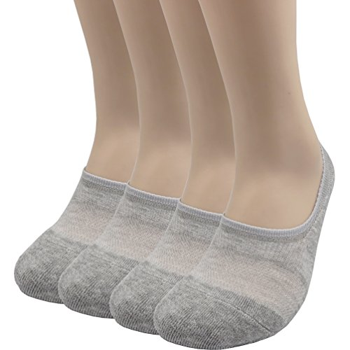 Pro Mountain Men's Women's No Show Flat Cushion Athletic Cotton Footies Sneakers Sports Socks (M(US Women Shoe 7.5~9.5 = Men 6.5~8.5, size10 Unisex), Gray 4pairs Pack M-size)