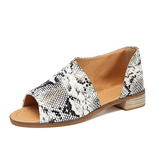(SNIDEL Womens Faux Leather Sandal Open Toe Flats Sip on Summer Casual Low Heels Shoes Snake 9.5 B (M) US)