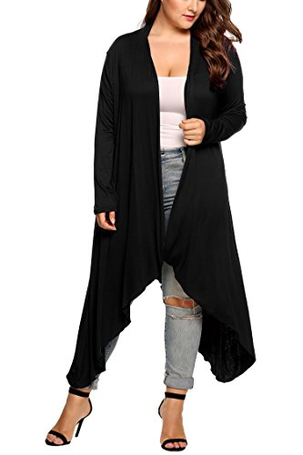 Black Duster Jacket - Opino Women's Solid Essential Long Cascading Cardigan Plus Size, Black, 3XL