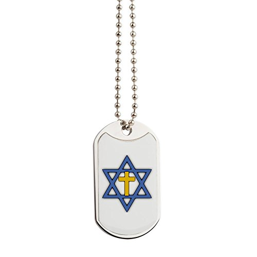 CafePress - Star Of David With Cross - Military Style Dog Tag, Stainless Steel with Chain ()