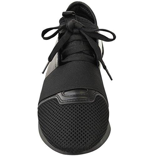 élastiquée Baskets fille course marche bande femme lacets sport Noir à Bali wwzCr0x