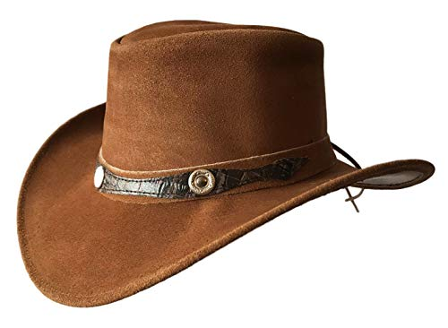 Brandslock Mens Vintage Wide Brim Cowboy Aussie Style Western Bush Hat (Medium, Tan)