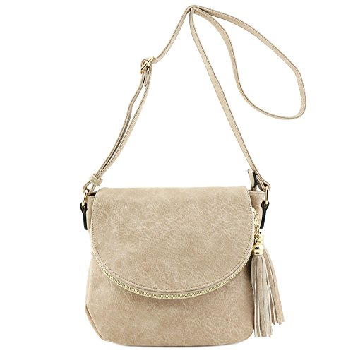 Tassel Accent Crossbody Bag with Flap Top (Sand) - Alyssa Top