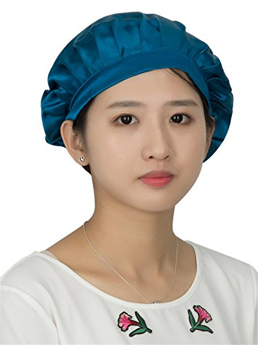 Hat Small Cap (LITHER 100 percent Natural Mulberry Silk Sleep Cap Head Cover Bonnet for Hair Beauty,Bule,One Size)