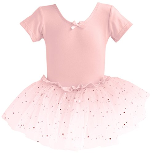Dancina Leotard Sparkle Tutu Dress Short Sleeve Future Ballerina First Ballet Class Gift 4 Ballet Pink