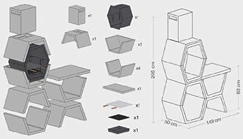 Barbacoa B- LIVE de Obra máximo diseño y calidad,De hormigón bruto hidrófugo blanco y negro149x 205cm: Amazon.es: Jardín