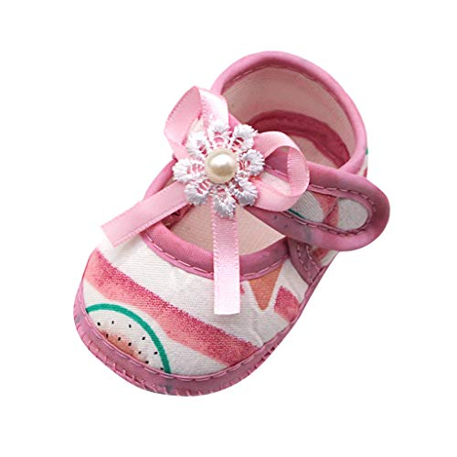 LONGDAY Baby Girls Sandals Cotton Soft Sole Mary Jane Flats Bowknot Non-Slip ler First Walkers Princess Dress Shoes