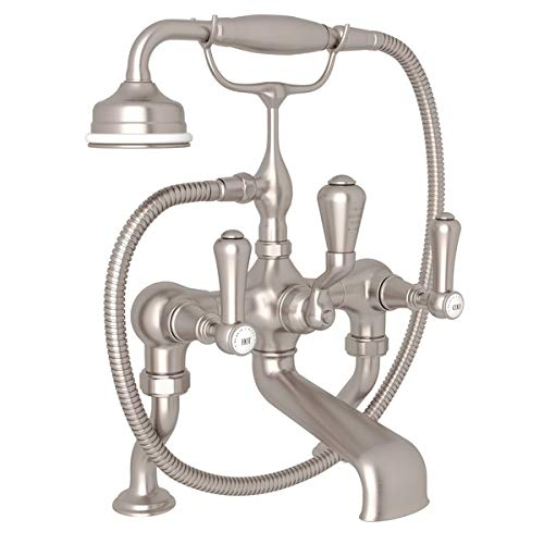 Georgian Era Exposed Bathtub - Rohl U.3000LSP/1-STN **KIT** PERRIN & ROWE GEORGIAN ERA EXPOSED DECK MOUNT TUB FILLER IN SATIN NICKEL WITH LEVER HANDLES HANDSHOWER AND CRADLE AND EXTENDED PILLAR UNIONS P&RG DECK EXPSD TB KIT L-H S.NK