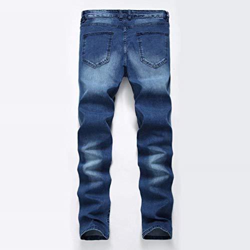 Stonewashed Slim Saphir Classiche Used Strech Casual Biker Look Da Denim Pantaloni Ragazzi Fit Distrutto Uomo Jeans XwxgqfSE