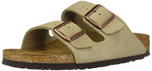(Birkenstock Unisex Arizona Taupe Suede Soft Foot Bed Sandals - 43 M EU/10-10.5 B(M) US Men)