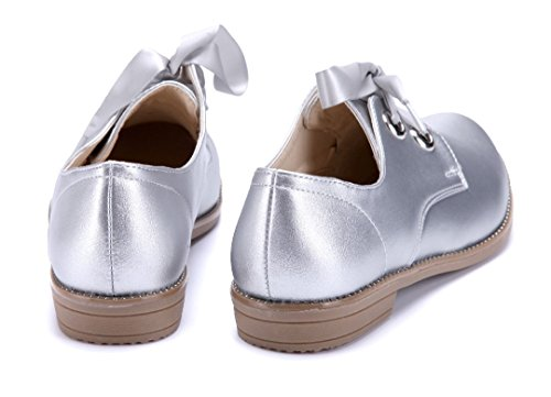 Schuhtempel24 Damen Schuhe Halbschuhe Flach Ziersteine/Dandy 2 cm Silber