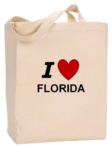 (I LOVE FLORIDA - State Series - Natural Canvas Tote Bag with Gusset)