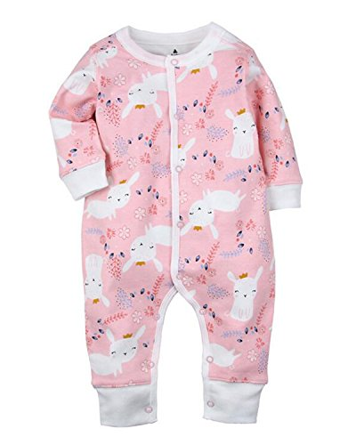 Kidsform Baby Cotton Romper Newborn Boys Girls Bodysuit Button Up Onesie Long Sleeve Print Pajamas Eight 12M