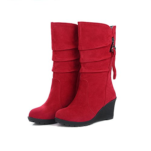 Women Candy Color Wedge Mid Calf Boots Casual Zipper Fringe Boots Moccasin Pleated Winter Snow Boots Pleated Fringe