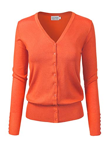 Design by Olivia Women's Classic Button Down Long Sleeve V-Neck Soft Knit Sweater Cardigan Orange S