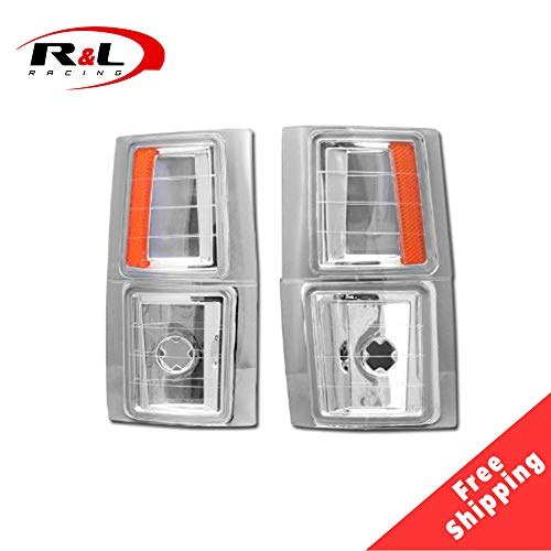 R&L Racing Chrome Clear Parking Corner Lights Euro Amber Signal Lamps 1994-2000 for Chevy C10 CK C/K Pickup/SUV ()