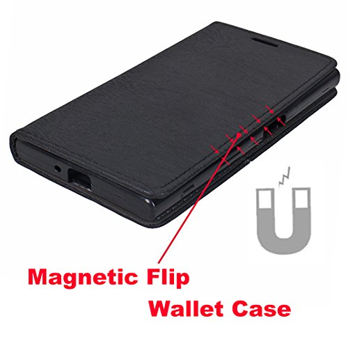 SONY Xperia XR/XZ/XZS Billetera Funda, Mood mood Folio Flip PU Cuero Caja Caso Teléfono Móvil para SONY Xperia XR/XZ/XZS 5.2 pulgada Magnético Cuaderno Carcasa [Crédito Tarjeta Slots] [Hebilla Magnéti Negro
