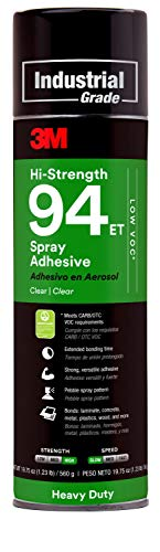 3M Hi-Strength 94 ET Spray Adhesive Glue, Low VOC, Heavy Duty, Wood, Metals, Rubber, Carpet, Flooring, Laminate, Foam, Fabric, Glass, Plastic, Clear, 19.75 oz