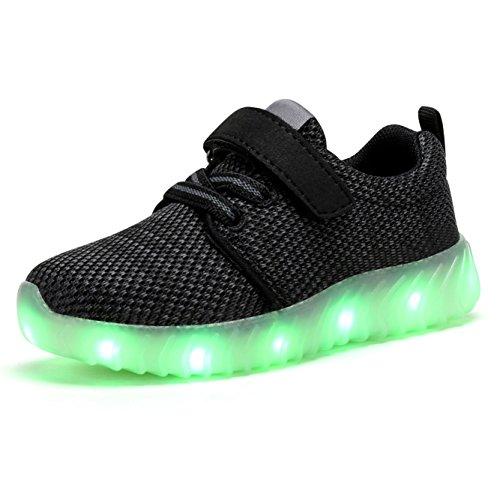 Coodo Enfants Garçons Filles Led Allument Chaussures Sneakers Clignotant (enfant En Bas Âge / Litière Enfants) 2-noir