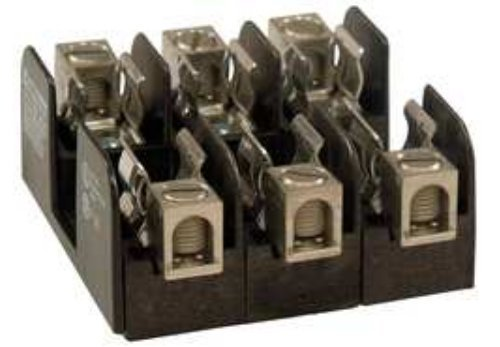 Mersen 21006 Class H and K Spring Reinforced Fuse Block with Box Connector, 2/0-#12 Cu Wire Range, 100 Ampere, 1 Pole