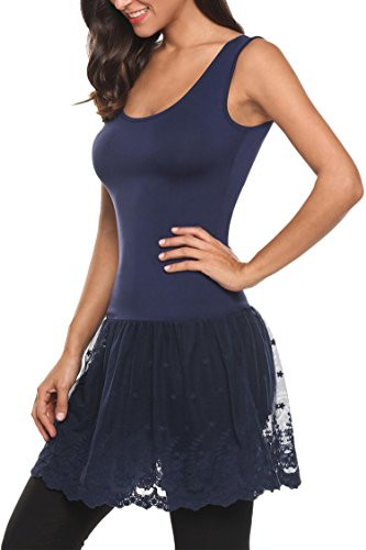 Womens Lace Trimmed Camisole Top Extender Extra Long Tank O Neck Dress, Navy Blue, XX-Large