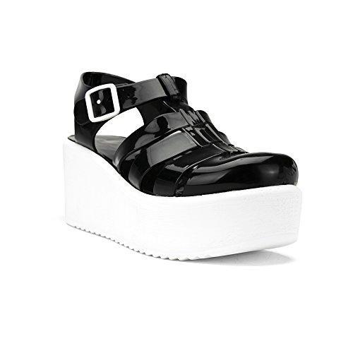 Chemistry® Ariel Jelly Platform Open Toe Slip On Sandali Con Tacco Regolabile Cinghia Superiore Scarpe Basse Nere