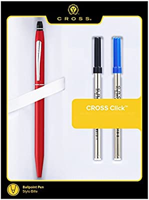 Cross Click Pen Metallic Red with Extra Refills