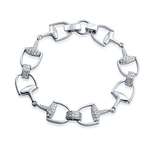 Bling Jewelry Pavé CZ Cheval équestre Bit Link Bracelet en Argent Massif 7 Pouces