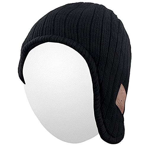 Qshell Winter Trendy Bluetooth Beanie Hat Cap Ear Warmers with Wireless Headphones Headsets Earphone Stereo Speaker Microphone Hand Free for Outdoor Sports,Compatible with Android Cell Phones - Black