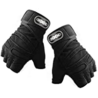 Breathable Half-Finger Fitness Cycling Gloves Weightlifting Dumbbell Protective Gloves with Long Wrist Guards Unisex - Black L