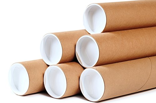 Premium Kraft Cardboard Mailing Tubes - 4'' x 24'' - 4'' Opening Diameter 24'' in Length - Case of 12 Shipping Tubes with White End Caps (4x24) by shipnit