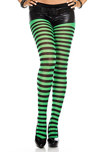 Music Legs Opaque Striped Tights Black/Kelly Green One Size Fits Most -