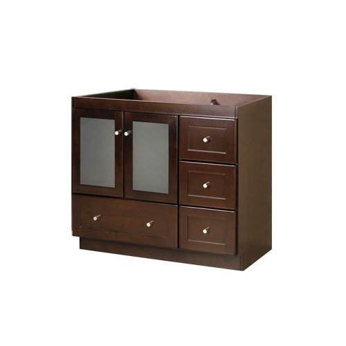 RONBOW Shaker 30 Inch Bathroom Vanity Base Cabinet with Soft Close Frosted Glass Door, Left Cabinet Drawer and Adjustable Shelf in Dark Cherry 081930-1L-H01 ()