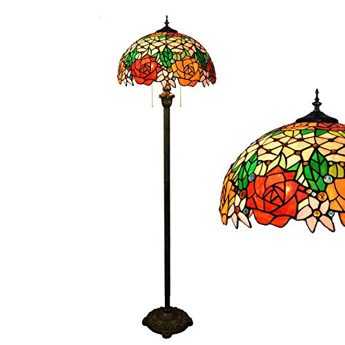 Hlidpu Tiffany-Style Reading Floor Lamp, Rose Stained Glass Lampshade 64 Inch Tall Antique Base for Bedroom Living Room Lighting Table Set Gifts (Pendant Rose Glass Light)