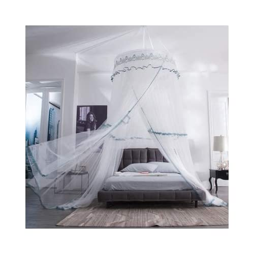 Image of Bed Curtains Canopy with Ruffle Lace for Girls Round Dome Yarn Play Tent Bedding Romantic Bedframes Canopy Installation-Free Extra Large Size Bedroom Decor Dream Tent for Boys,white1,2.0m(6.6ft)bed Home and Kitchen