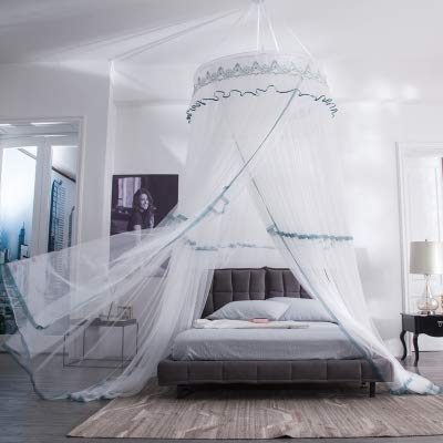 Bed Curtains Canopy with Ruffle Lace for Girls Round Dome Yarn Play Tent Bedding Romantic Bedframes Canopy Installation-Free Extra Large Size Bedroom Decor Dream Tent for Boys,white1,2.0m(6.6ft)bed