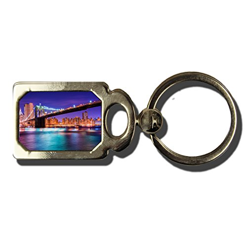 Brooklyn Bridge At Night In New York One Side Framed Metal Key Chain from Style in Print