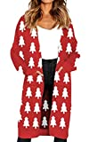Angashion Women's Long Sleeves Leopard Print Knitting Cardigan Open Front Warm Sweater Outwear Coats with Pocket Christmas Tree M