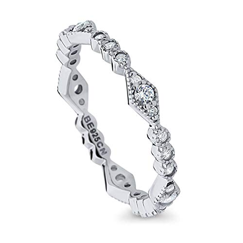 BERRICLE Rhodium Plated Sterling Silver Cubic Zirconia CZ Art Deco Anniversary Wedding Eternity Band Ring Size 5