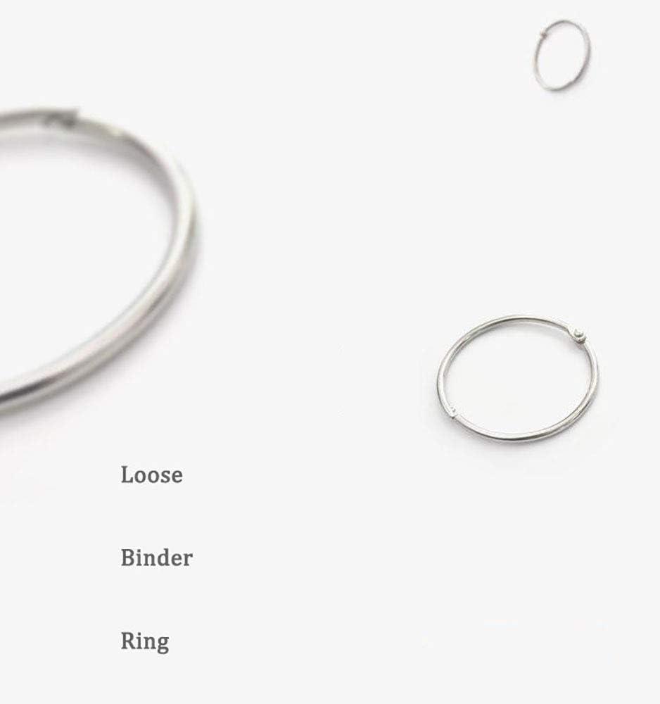 XMHF Loose Leaf Binder Ring 87mm 3.4inch Diameter Stainless Steel Nickel Plated Hinge Snap Rings Silver Tone 10Pcs