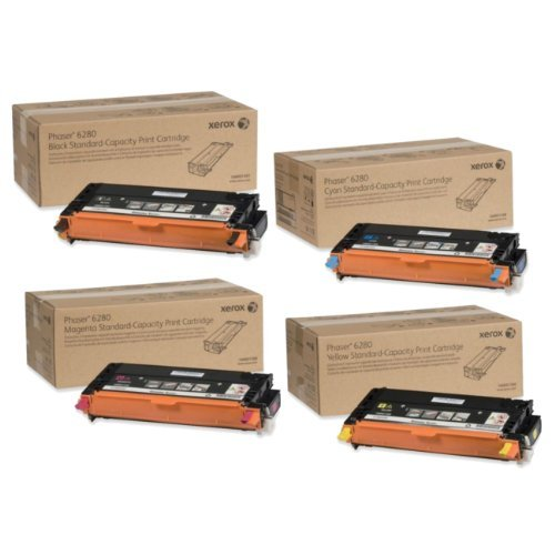 (Xerox Part# 106R01388. 106R01389. 106R01390. 106R01391 Phaser 6280 Standard Yield Toner Set)