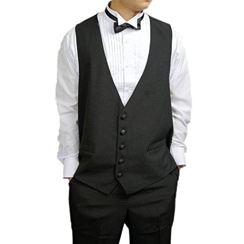 Men's Black 5 Button Dress Vest Black for Suit Separate or Tuxedo, 2X / 50