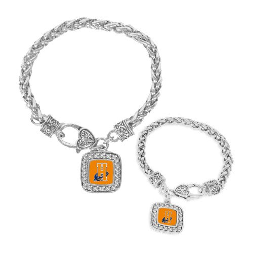 Hostos Silver Braided Rope Bracelet With Crystal Studded Square Pendant 'Hostos H - Studded Alligator